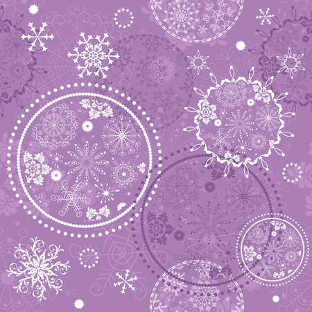 Soft purple seamless Christmas pattern with circles and snowflakes (vector) Vector
