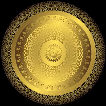 曼陀羅: 装飾的な金ラウンド プレート黒の背景 (ベクトル)