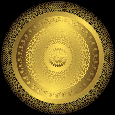 Decorative gold round plate on black background (vector) Stock Vector - 10988165