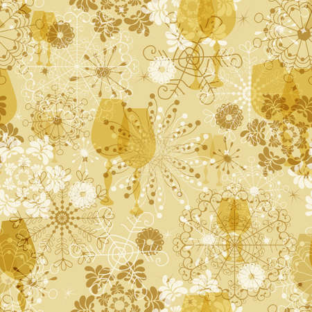 imposing: Seamless gentle yellow christmas pattern with snowflakes and glasses (vector) Illustration