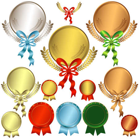 medal ribbon: Set gold, silver and bronze awards with ribbons on a white (vector) Illustration