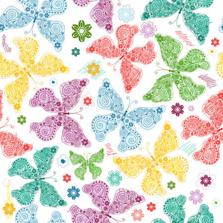 dark pastel green: Seamless wallpaper with pastel colorful butterflies (vector)