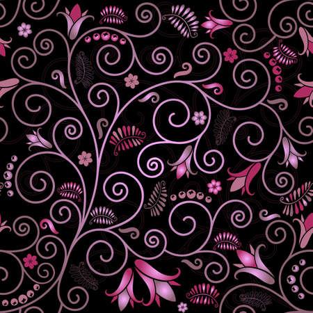 effortless: Negro patr�n floral transparente con flores rosadas y rizos