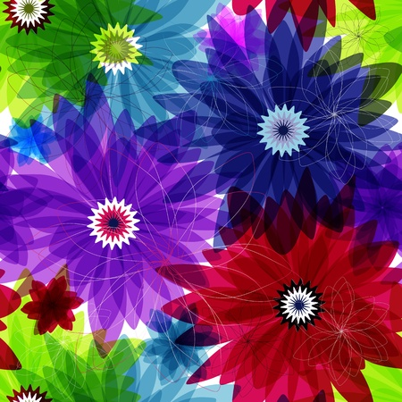 Seamless floral vivid pattern with colorful flowers (vector eps 10) Vector