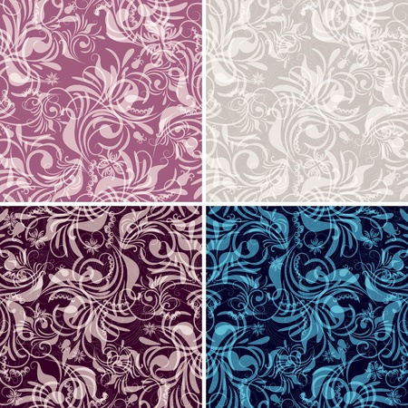 Set gentle seamless floral pattern with vintage curls (vector EPS10) Vector