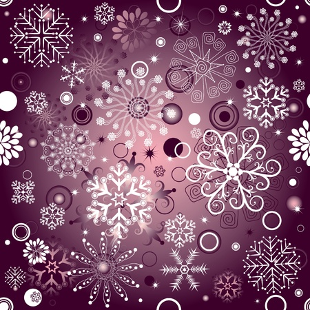 Seamless violet and pink Christmas pattern with snowflakes and balls (vector) Vector