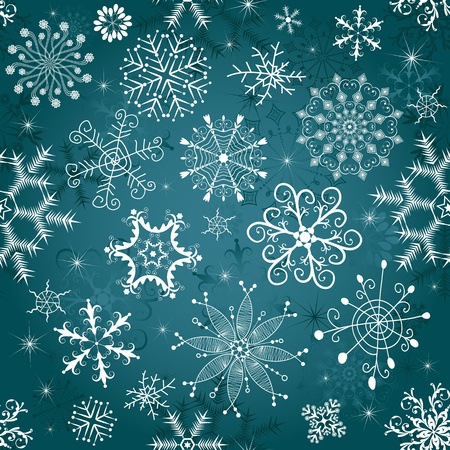 silvery: Dark blue seamless Christmas tracery with varied snowflakes (vector) Illustration
