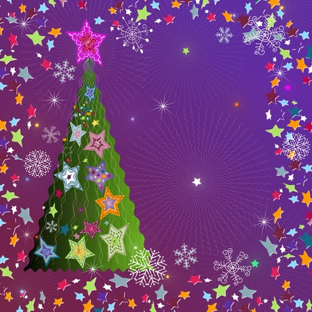 Christmas violet frame with tree, stars and snowflakes  Vector