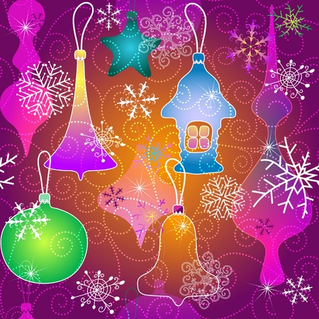 Purple seamless pattern with Christmas toys and snowflakes and curls  Vector