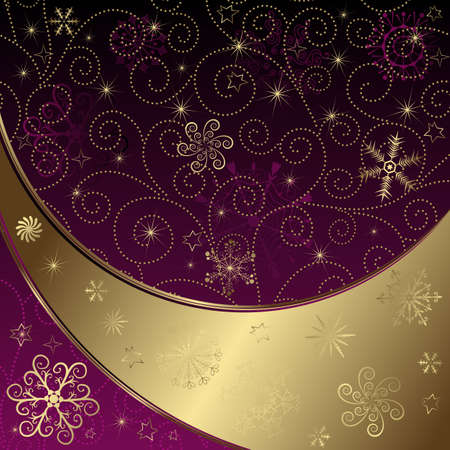 Christmas gold and purple frame with curls and snowflakes and stars  Vector