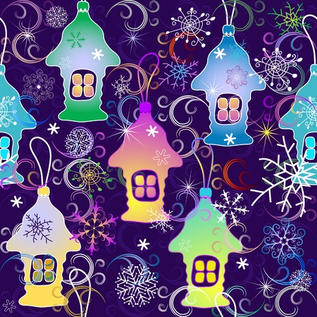 varied: Violet seamless pattern with snowflakes and Christmas toy houses (vector)