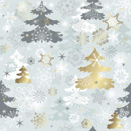 silver circle: Inverno seamless con fiocchi di neve vari, alberi di Natale e stelle d'oro (vector)