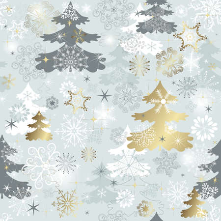 traditional silver wallpaper: Winter seamless pattern with  varied snowflakes, christmas trees and gold stars (vector)