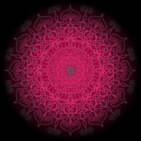 indianin: Fioletowe i czarne okrągłe ramki z rocznika ornament (wektor)
