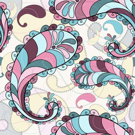 motley: Motley seamless con un colorato paisley (vector) Vettoriali