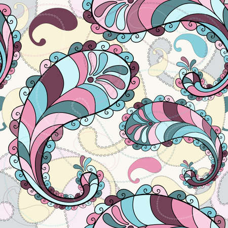 effortless: Motley seamless pattern with colorful paisley (vector)