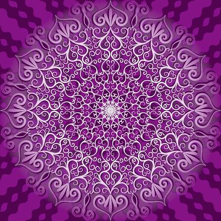 曼陀羅: ラウンド装飾的な穏やかな白と紫のパターン (ベクター)