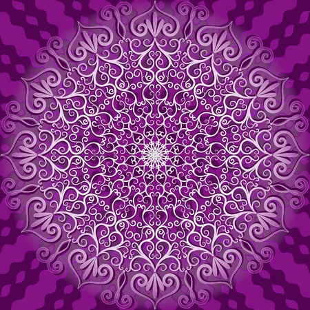 Round decorative gentle white and violet pattern (vector)