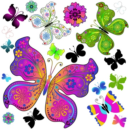 Set colorful and black butterflies for design on white (vector) Vector
