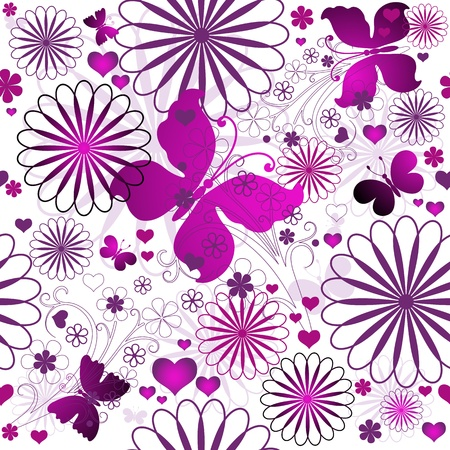 purple texture: Seamless floral valentine pattern with flowers and butterflies and hearts  (vector)