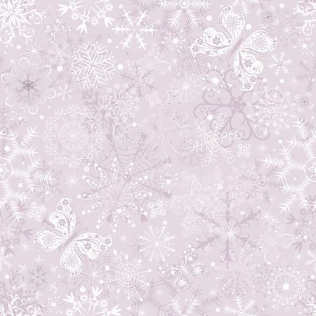 Gentle pink pastel seamless Christmas pattern with snowflakes and butterflies (vector) Vector