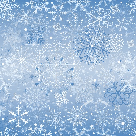 Christmas blue and silvery seamless pattern with snowfall (vector) Vector