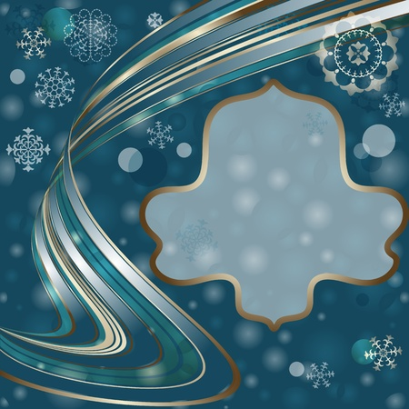 Christmas dark blue frame with translucent silvery wave line and balls and snowflakes (vector EPS 10) Vector