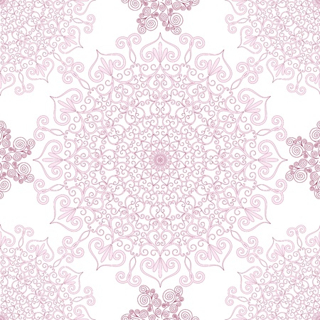 mandala flower: Decorative seamless pattern with round vintage frames (vector) Illustration