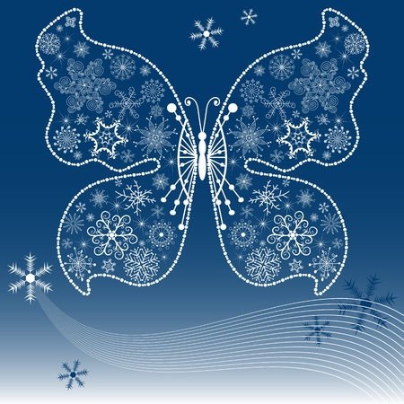 handwork: Christmas dark blue background with snowflake-butterfly (vector)
