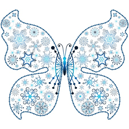 imposing: Christmas snowflake-butterfly isolated on white background  (vector)
