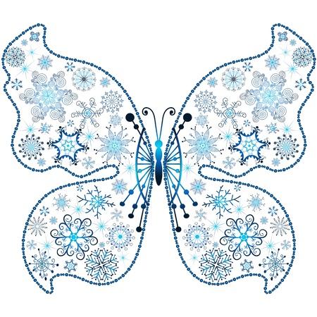 imposing: Natale fiocco di neve-farfalla isolato su sfondo bianco (vector)