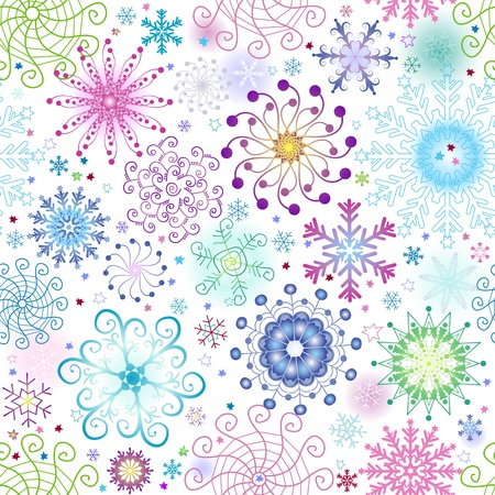 variegated: Christmas seamless pattern with variegated colorful snowflakes and stars (vector)