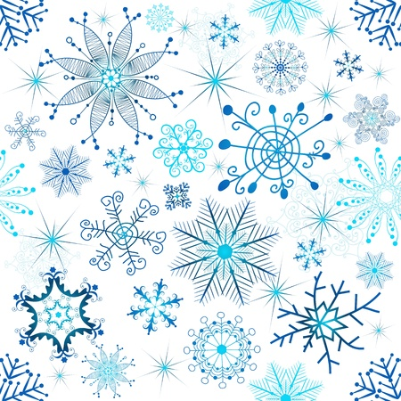 chaotic: Christmas seamless white pattern with blue snowflakes (vector)