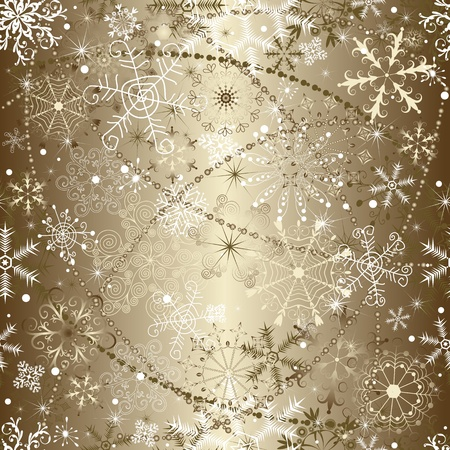 silvery: Brilliant golden christmas seamless pattern with snowflakes and garlands (vector)