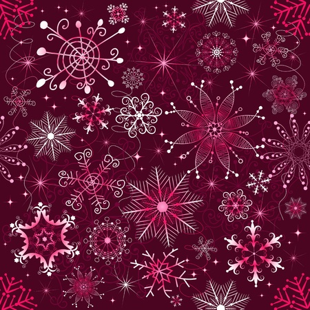 Christmas purple and white seamless decorative pattern with snowfall (vector) Vector