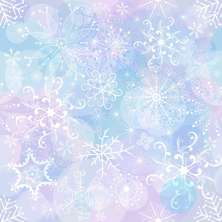 chaotic: Seamless gentle christmas pattern with chaotic snowflakes and balls (vector EPS 10)
