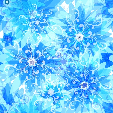 Seamless pattern with blue snow translucent flowers and snowflakes (vector EPS 10)) Vector