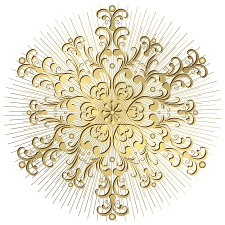 arabesque: Gold vintage snowflake with rays on white background (vector)