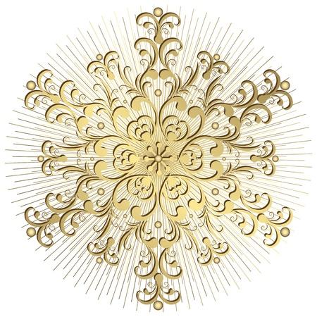 arabesque: Oro d'epoca fiocco di neve con i raggi su sfondo bianco (vettoriale) Vettoriali