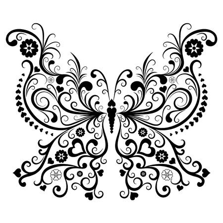 dessin noir et blanc: Vintage Valentine papillons noirs isolés sur fond blanc (vecteur) Illustration