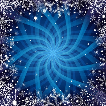 Christmas dark blue frame with snowflakes, stars and rays (vector EPS 10) Vector