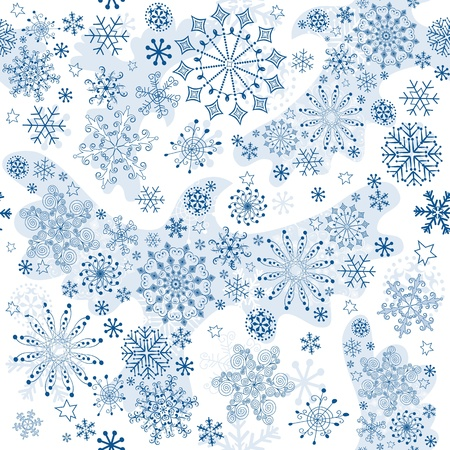 imposing: Seamless white pattern in decorative snow birds and snowflakes (vector)