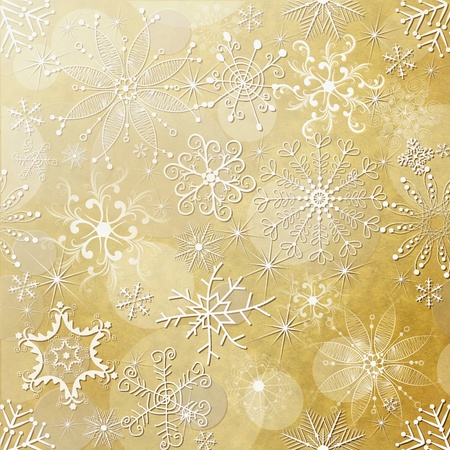 scrap gold: Old yellow christmas paper with white vintage snowflakes