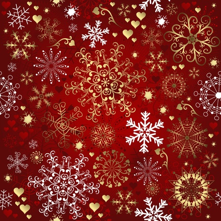 Christmas red seamless pattern with gold and white snowflakes (vector) Vector