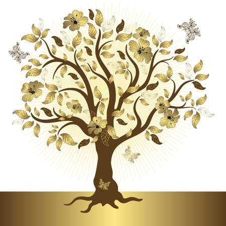 Abstract tree with gold leaves and flowers and butterflies (vector) Vector