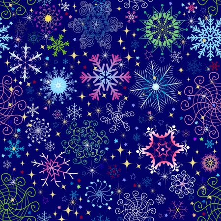 Christmas dark blue seamless pattern with colorful snowflakes and stars (vector) Vector