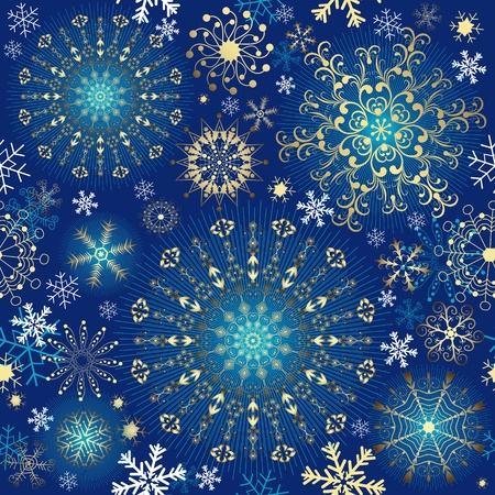 Christmas blue effortless pattern with gold snowflakes and stars (vector)