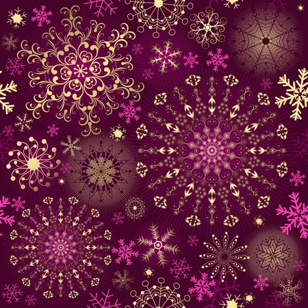 variegated: Christmas purple seamless pattern with gold and pink snowflakes (vector)