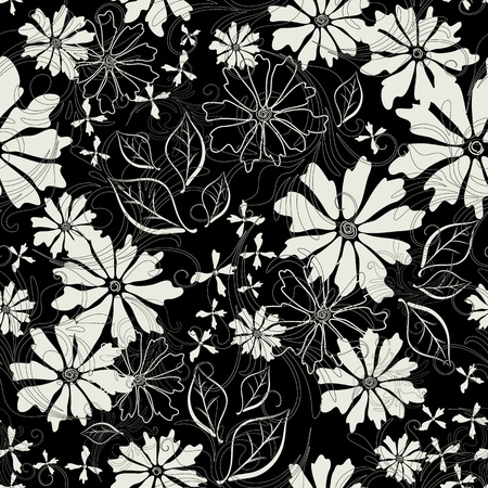 effortless: Effortless floral pattern with white flowers (vector EPS 10)