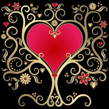 hart bloem: Gold valentines vintage frame met het hart op zwarte achtergrond (vector)